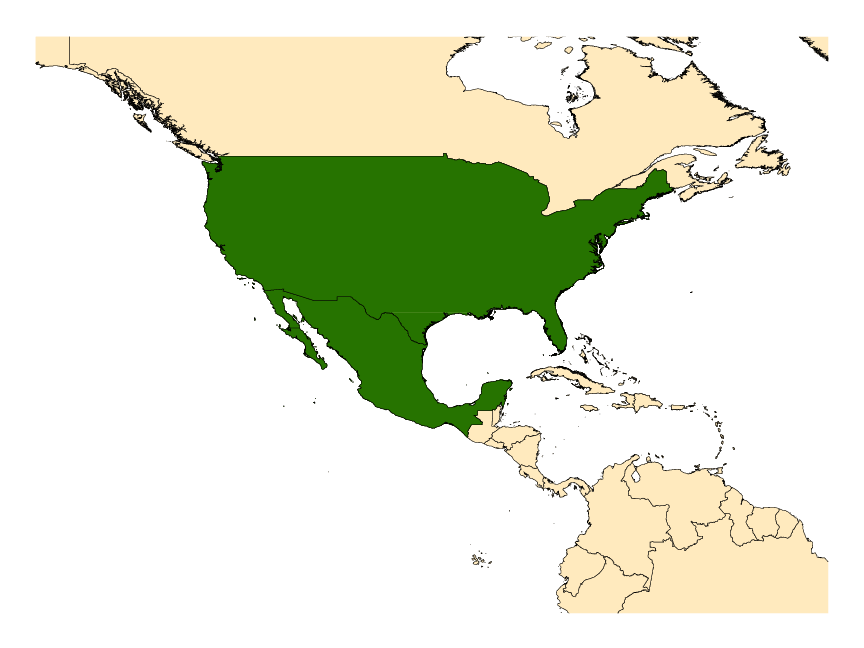 Distribution map for <em>Anopheles aztecus</em> Hoffman, 1935