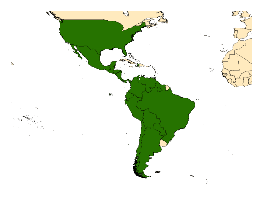 Distribution map for <em>Anopheles pseudopunctipennis</em> Theobald, 1901